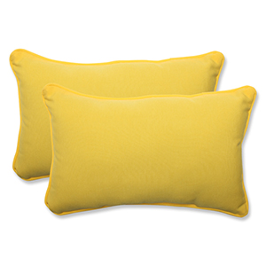 Fresco Yellow Outdoor Rectangular Throw Pillow, Set of 2