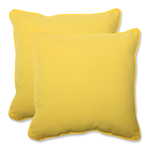 Fresco Yellow Outdoor Square 18.5-Inch Throw Pillow, Set of 2