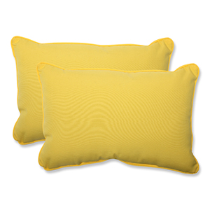 Fresco Yellow Outdoor Over-sized Rectangular Throw Pillow, Set of 2