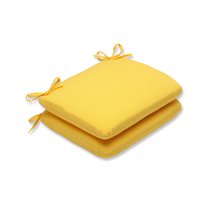 Fresco Yellow Outdoor Rounded Corner Seat Cushion, Set of 2