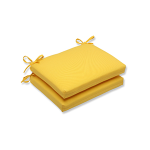 Fresco Yellow Outdoor Squared Corner Seat Cushion, Set of 2