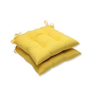 Fresco Yellow Outdoor Wrought Iron Seat Cushion, Set of 2