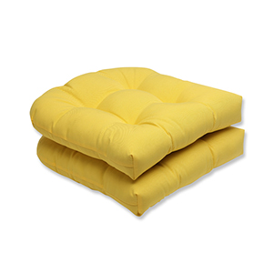 Fresco Yellow Outdoor Wicker Seat Cushion, Set of 2