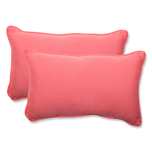 Fresco Pink Outdoor Rectangular Throw Pillow, Set of 2