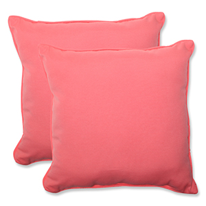 Fresco Pink Outdoor Square 18.5-Inch Throw Pillow, Set of 2