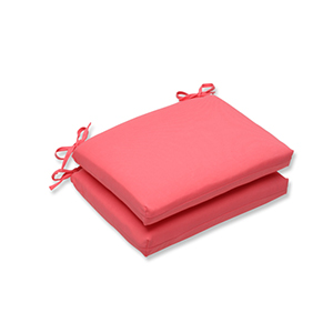 Fresco Pink Outdoor Squared Corner Seat Cushion, Set of 2