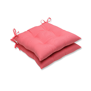 Fresco Pink Outdoor Wrought Iron Seat Cushion, Set of 2
