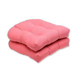 Fresco Pink Outdoor Wicker Seat Cushion, Set of 2