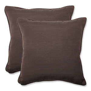 Forsyth Brown Outdoor Square 18.5-Inch Throw Pillow, Set of 2