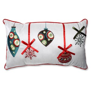 White and Red Holiday Ornaments Rectangular Throw Pillow