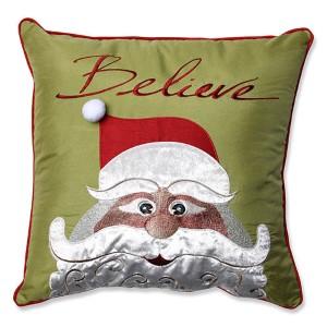 Green 18-Inch Christmas Santa Believe Throw Pillow