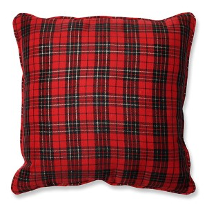 Red 16.5-Inch Holiday Plaid Throw Pillow