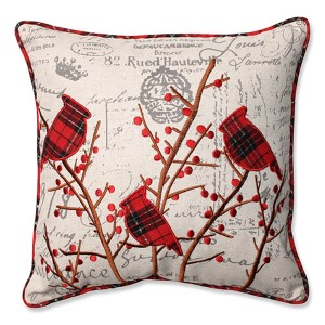 Beige 16.5-Inch Holiday Embroidered Cardinals Throw Pillow