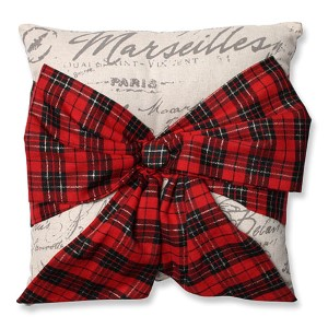 Beige 6.5-Inch Holiday Plaid Bowknot Throw Pillow