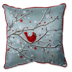 Blue 16.5-Inch Holiday Cardinal on Snowy Branch Throw Pillow