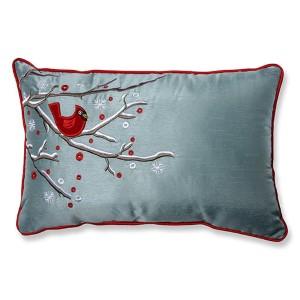 Blue Holiday Cardinal on Snowy Branch Rectangular Throw Pillow