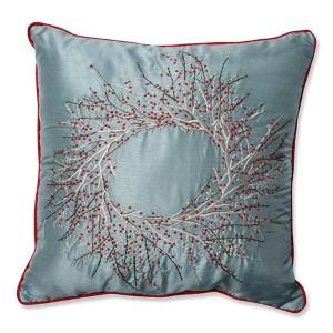 Blue 18-Inch Christmas Wreath Throw Pillow