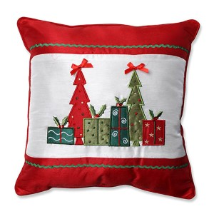 Red and White 16.5-Inch Christmas Trees and Presents Throw Pillow