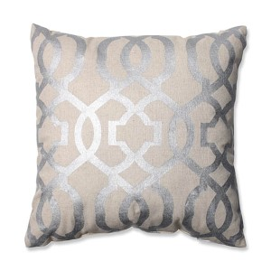 Beige and Silver 16.5-Inch Geometric Throw Pillow