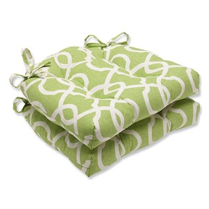 Lattice Damask Leaf Green Reversible Chair Pad, Set of 2