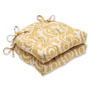Babar Topaz Yellow Reversible Chair Pad, Set of 2