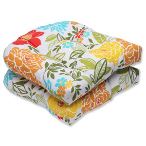 Spring Bling Multicolor Wicker Outdoor Seat Cushion, Set of 2