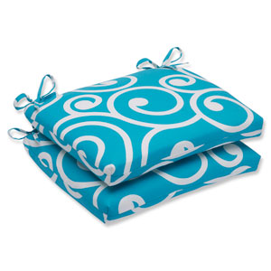 Best Turquoise Squared Corners Outdoor Seat Cushion, Set of 2