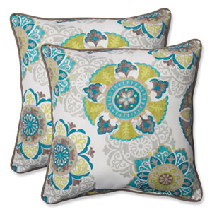 Allodala Oasis 18.5-inch Outdoor Throw Pillow, Set of 2