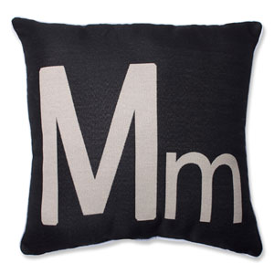 Initial M 18-inch Throw Pillow