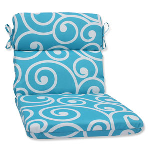 Best Turquoise Rounded Corners Outdoor Chair Cushion Cushion