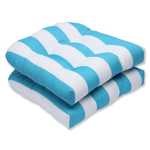 Cabana Stripe Turquoise Wicker Outdoor Seat Cushion, Set of 2