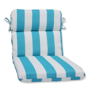 Cabana Stripe Turquoise Rounded Corners Outdoor Chair Cushion Cushion