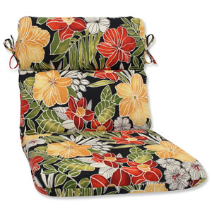 Clemens Noir Rounded Corners Outdoor Chair Cushion Cushion