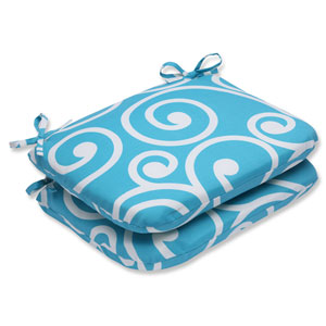 Best Turquoise Rounded Corners Outdoor Seat Cushion, Set of 2