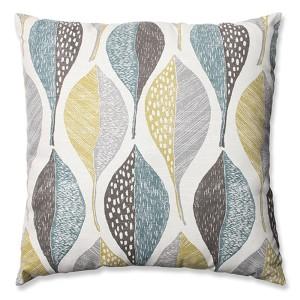 Woodblock Leaf Rain 24.5-Inch Floor Pillow