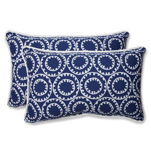 Ring a Bell Navy Rectangular Outdoor Throw Pillow, Set of 2