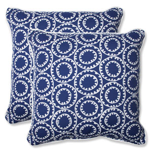 Ring a Bell Navy 18.5-Inch Outdoor Throw Pillow, Set of 2