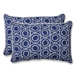Ring a Bell Navy Over-sized Rectangular Outdoor Throw Pillow, Set of 2