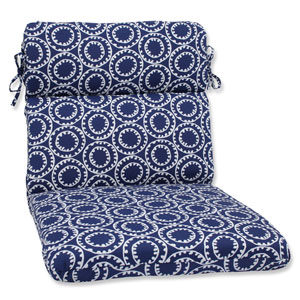 Ring a Bell Navy Rounded Corners Outdoor Chair Cushion Cushion
