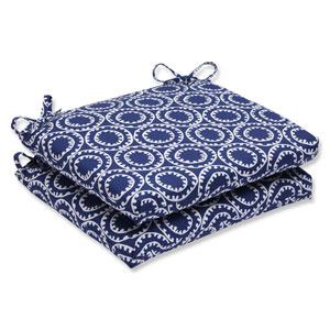 Ring a Bell Navy Squared Corners Outdoor Seat Cushion, Set of 2