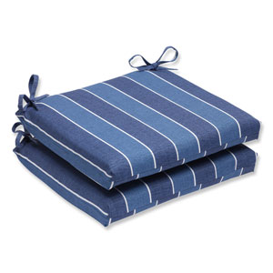 Wickenburg Indigo Squared Corners Outdoor Seat Cushion, Set of 2
