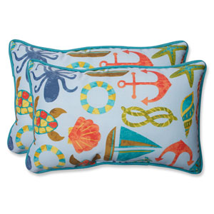 Seapoint Blue Summer Rectangular Outdoor Throw Pillow, Set of 2