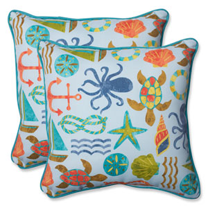 Seapoint Blue Summer 18.5-Inch Outdoor Throw Pillow, Set of 2
