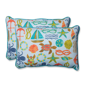 Seapoint Blue Summer Over-sized Rectangular Outdoor Throw Pillow, Set of 2
