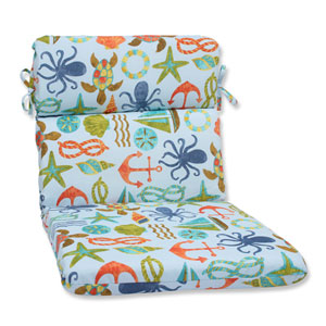 Seapoint Blue Summer Rounded Corners Outdoor Chair Cushion Cushion