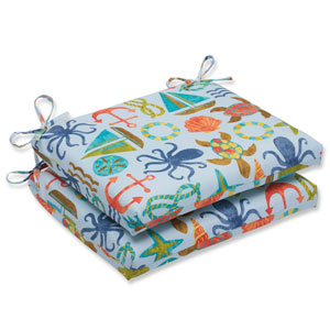 Seapoint Blue Summer Squared Corners Outdoor Seat Cushion, Set of 2