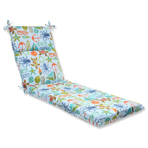 Seapoint Blue Summer Outdoor Chaise Lounge Cushion