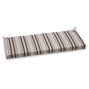 Getaway Stripe Black Outdoor Bench Cushion
