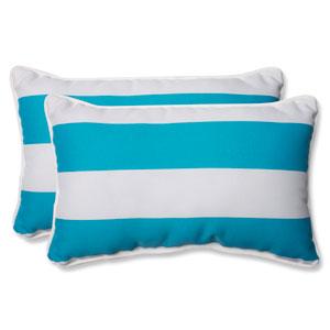 Cabana Stripe Turquoise Rectangular Outdoor Throw Pillow, Set of 2