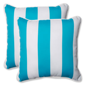 Cabana Stripe Turquoise 18.5-inch Outdoor Throw Pillow, Set of 2